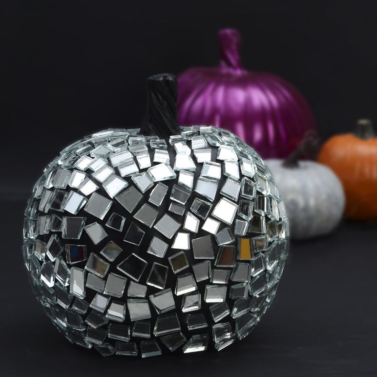 glass mosaic mirrored pumpkin pretty unique pumpkin decorating ideas diy halloween decor modern - Fake Halloween Pumpkins