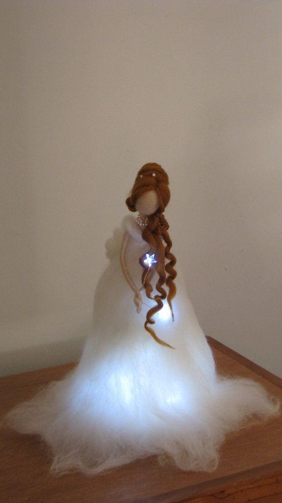 Angelo di Natale Fiera Ago infeltrito con lampada di Made4uByMagic