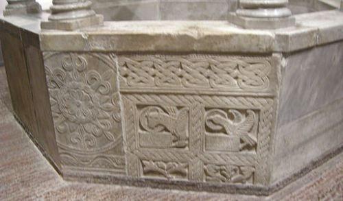 Carolingian-period sculptural panel on a baptismal font ion the church of Cividale
