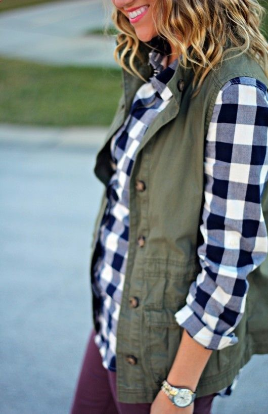 black and white gingham shirt + green utility vest