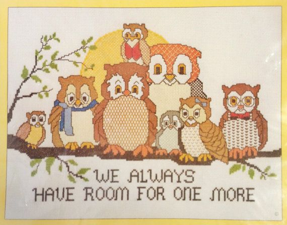 1980s Sunset Owls Counted Cross Stitch Kit We by OdettesVintage