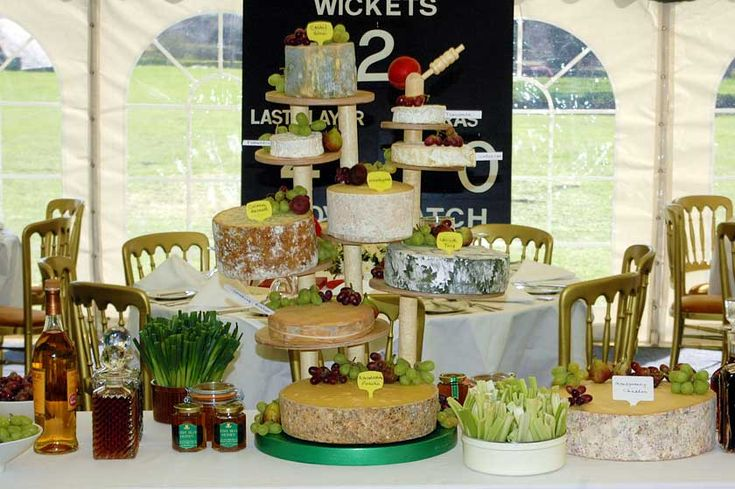 Ingenious cheese board crafted from cricket bailes and stumps for a cricket themed party