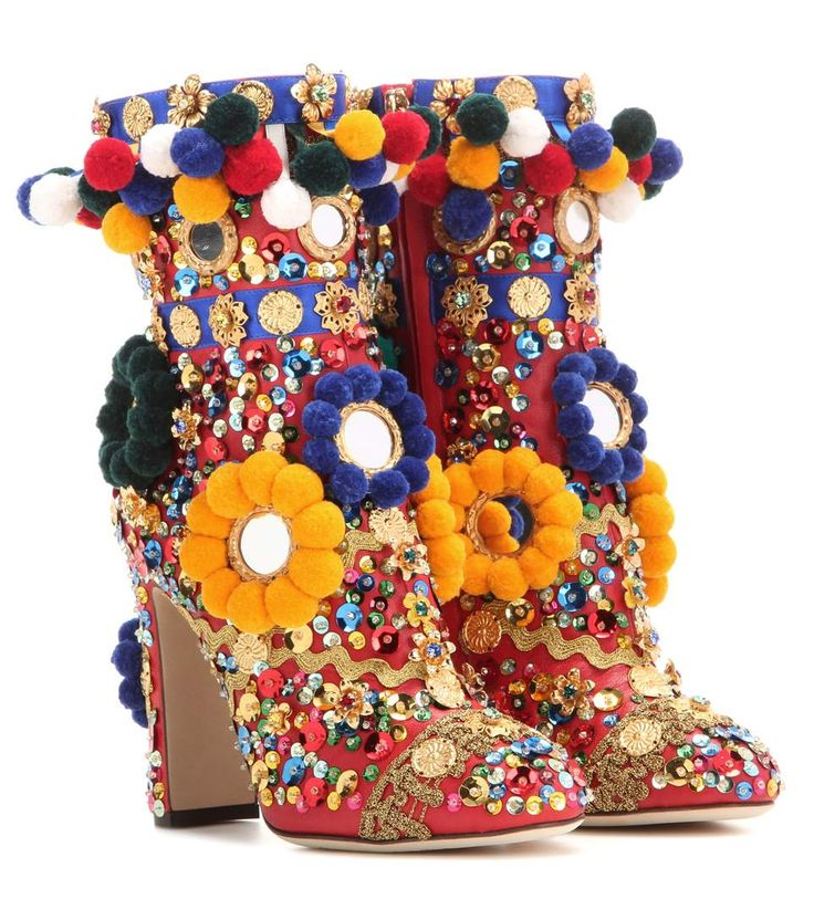 Dolce & Gabbana - Embellished leather ankle boots - Crafted in Italy from firecracker-red leather, this daring pair are covered in mood-elevating adornments – from playful pompoms to dazzling sequins to framed mirrors. A guaranteed conversation-starter, we're showing these beauties off at every opportunity. - @ www.mytheresa.com