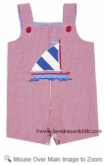 Mulberry Street Baby / Toddler Boys Reversible Shortall - Red Sailboat / Blue Golf Club