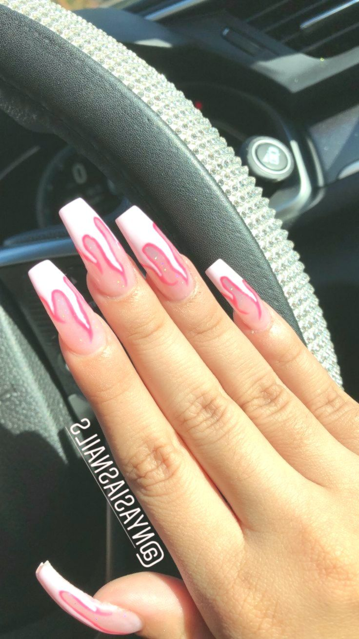 Pink Flame Nails Long Acrylic Coffin Shape Acrylic Coffin Flame Long Nails Pink Shape Acrylic Nails Coffin Pink Neon Acrylic Nails Crazy Acrylic Nails