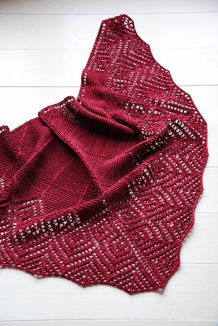 Maria Olsson Knits' 30 Diamonds. malabrigo Sock merino, Tiziano Red color.