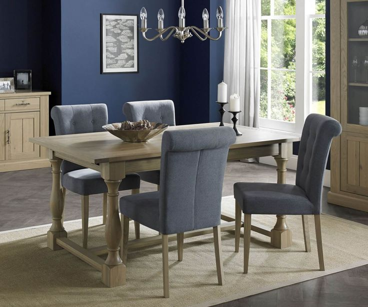 Bentley Designs Chartreuse Aged Oak Extension Dining Table With 6  Upholstered Slate Blue Chairs
