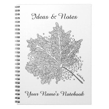 Listakora Leaf Personalized Notebook  $15.40  by LISTAKORA  - cyo diy customize personalize unique