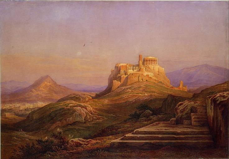 Rudolf Müller (Swiss, 1802-85), View of the Acropolis from the Pnyx