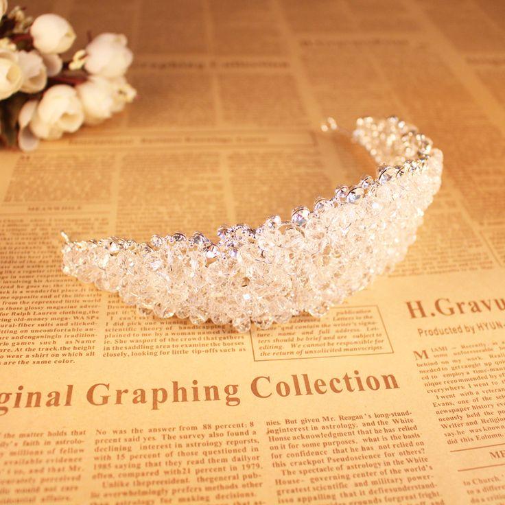Art Deco Shining Big Crystal Rhinestones Flower Bridal Tiara Headpiece Wedding Princess Queen Crown