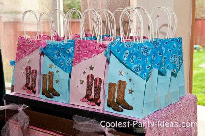 Little Girl Cowgirl Party Ideas | purchased plain pink bags from JoAnn Fabric. Then I decorated with ...