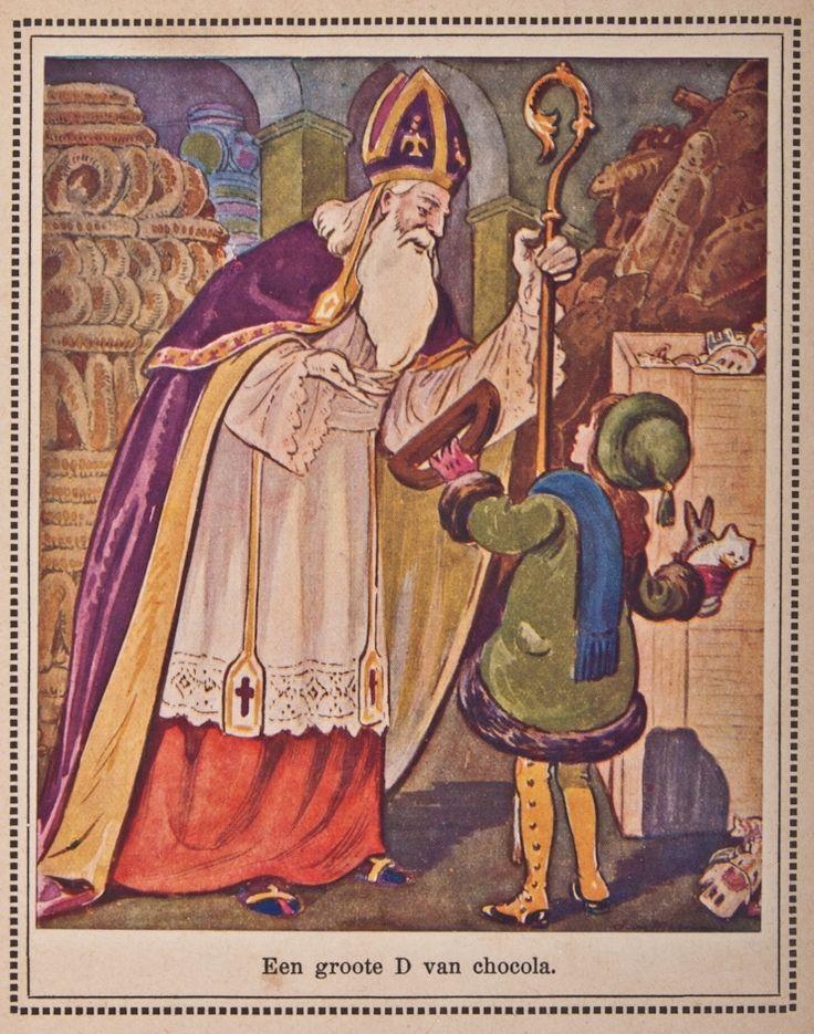 'Een groote D van chocola'. Boek : Verteluurtje, door Alberdina Hermanna Schlüter, (1877-1946).Geïllustreerd door Jan Wiegman, (1884-1963). Uitgever H. Meulenhoff - Amsterdam - 1921