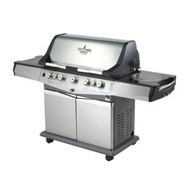 Blue Ember�Professional Cast Aluminum 5-Burner (55,000-BTU) Natural Gas Grill with Side and Rotisserie Burner and Integrated Smoker Box