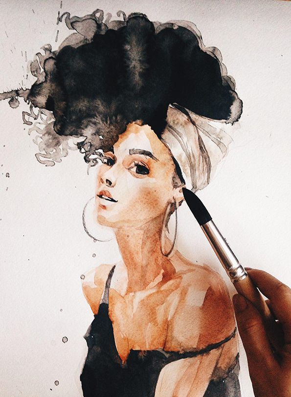Ink and watercolor woman fashion illustration. Curly brunette. Young and pretty …