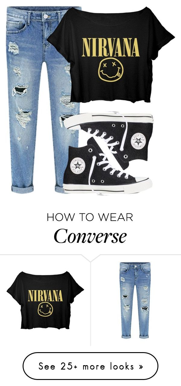 """""""Nirvana"""" by lalalasprinkles on Polyvore featuring moda e Converse"""