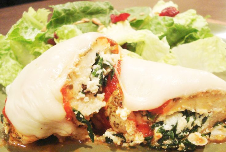 Baked Chicken breast filled spinach & Requesón -Ricotta cheese- Yumm!