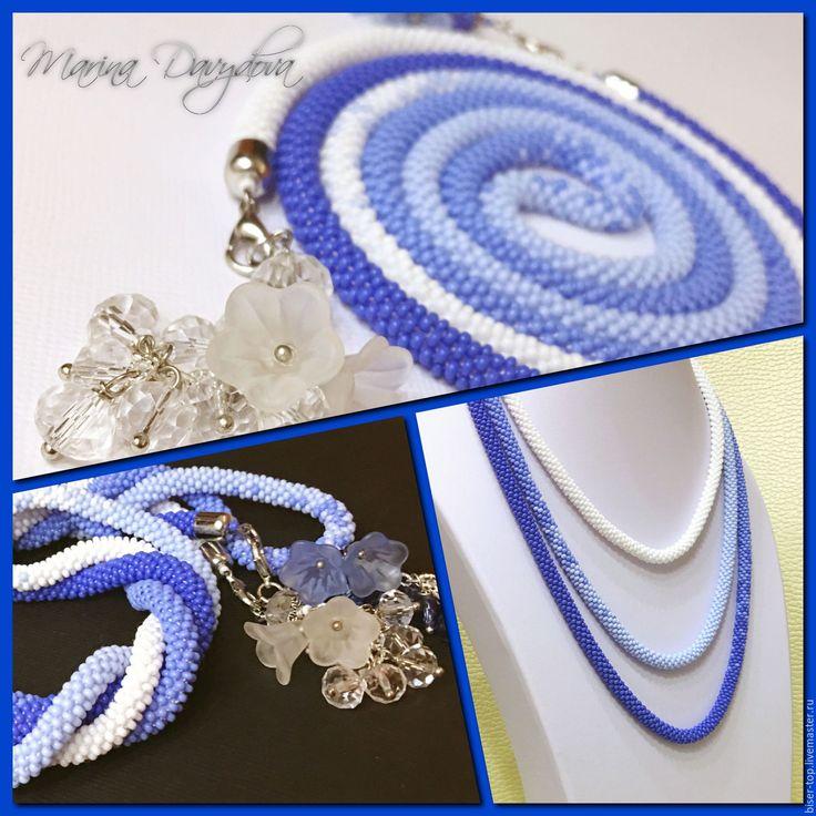 """Купить Лариат-трансформер """"Ледяной цветок"""" - васильковый, голубой, синий, белый, лариат купить"""