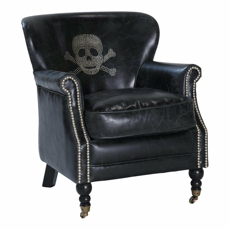 leather skull chair - Fauteuil tête de mort cuir vintage noir ZADIG arm chair