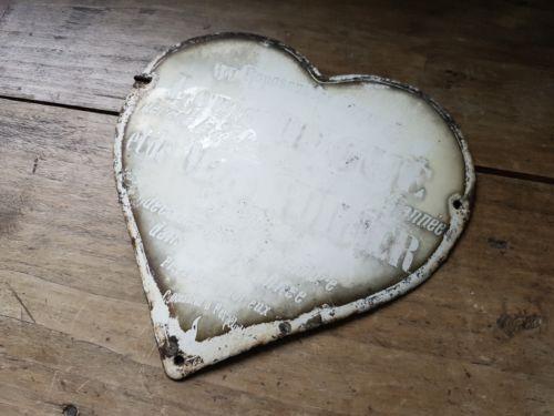 Antique-French-Cream-Enamel-Memorial-Grave-Plaque-Memento-Mori-Vintage