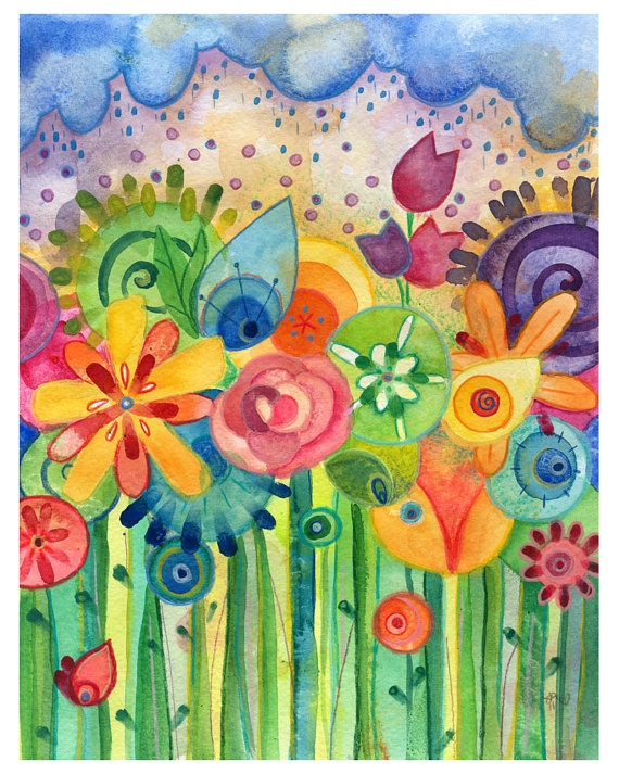 Bring the garden inside, love colour.bring may flowers print by lauren alexander on etsy (i love her paintings)