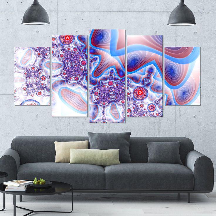 DESIGN ART Designart 'Beautiful Extraterrestrial Life Cells' Modern Floral Artwork - 60x32 5 Panels