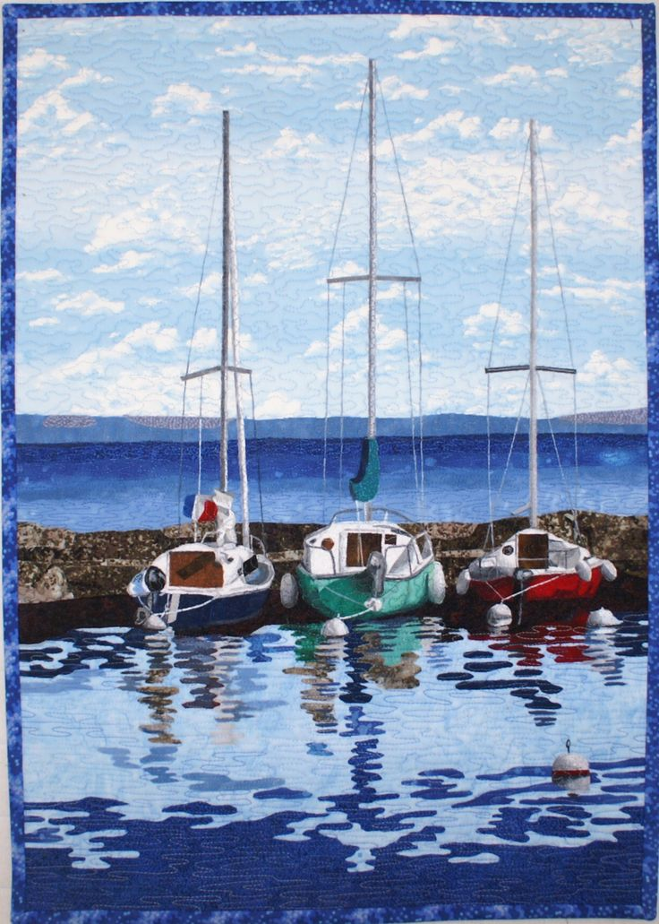 Sailboats Art Quilt pattern by Lenore Crawford now available on her Etsy page…