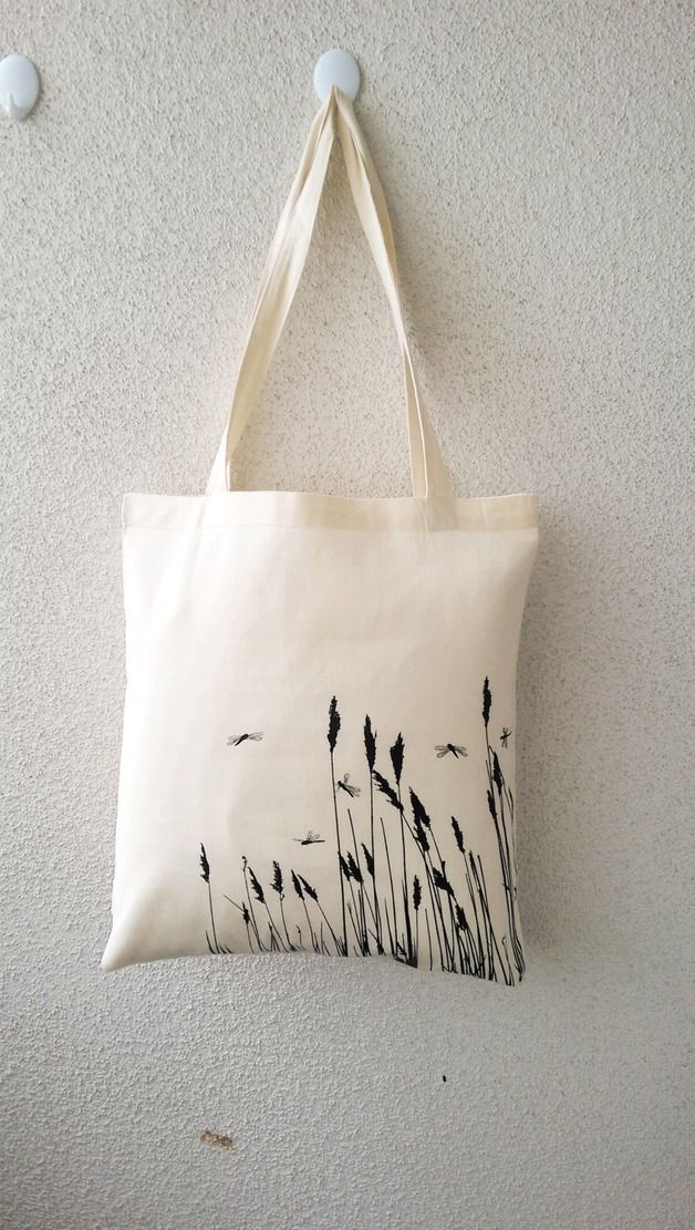 Jutebeutel mit Print: Gräser und Libellen, die Alternative zur Handtasche / hipster tote bag with print made by Edy Dark via DaWanda.com