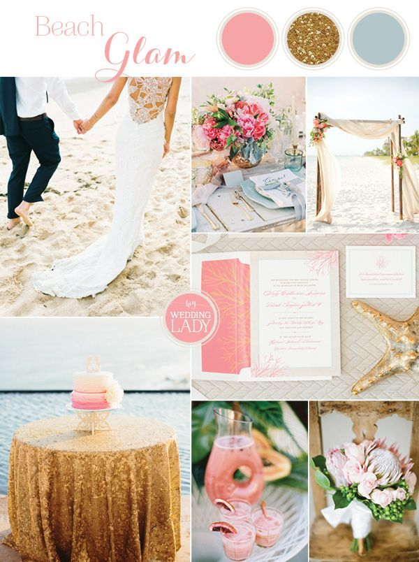 Tropical Beach Glam Bahamas Wedding in Sparkling Gold and Pink! | http://heyweddinglady.com/tropical-beach-glam-bahamas-wedding-sparkling-gold-pink/