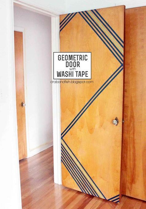 DIY Dorm Room Decor Ideas - Washi Tape Geometric Door - Cheap DIY Dorm Decor Projects for College Rooms - Cool Crafts, Wall Art, Easy Organization for Girls - Fun DYI Tutorials for Teens and College Students http://diyprojectsforteens.com/diy-dorm-room-decor #artscollege