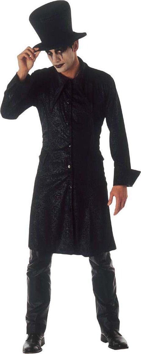 Costume mago gotico Halloween: Questo travestimento da mago gotico per uomo si compone di una giacca e di un cappello tipo cilindro, tutto in colore nero (pantaloni, make-up e scarpe non incluse).La giacca arriva alle ginocchia ed...