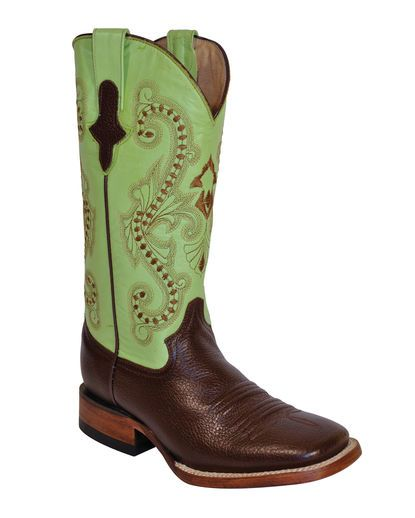Ferrini - Women's Cowhide S-Toe Boot - Chocolate/Lime