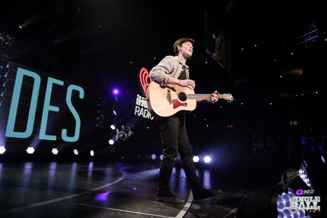 Shawn Mendes onstage at the Q102 Jingle Ball at the Wells Fargo Center in Philadelphia on Wednesday, December 10th, 2014. (Photo: Andrew Swartz for iHeartRadio)
