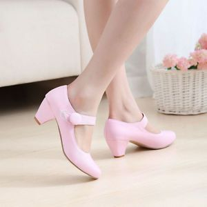 Sweet Girls Womens  Ankle Strap Candy Color Med Heel Mary Jane Pump Shoes