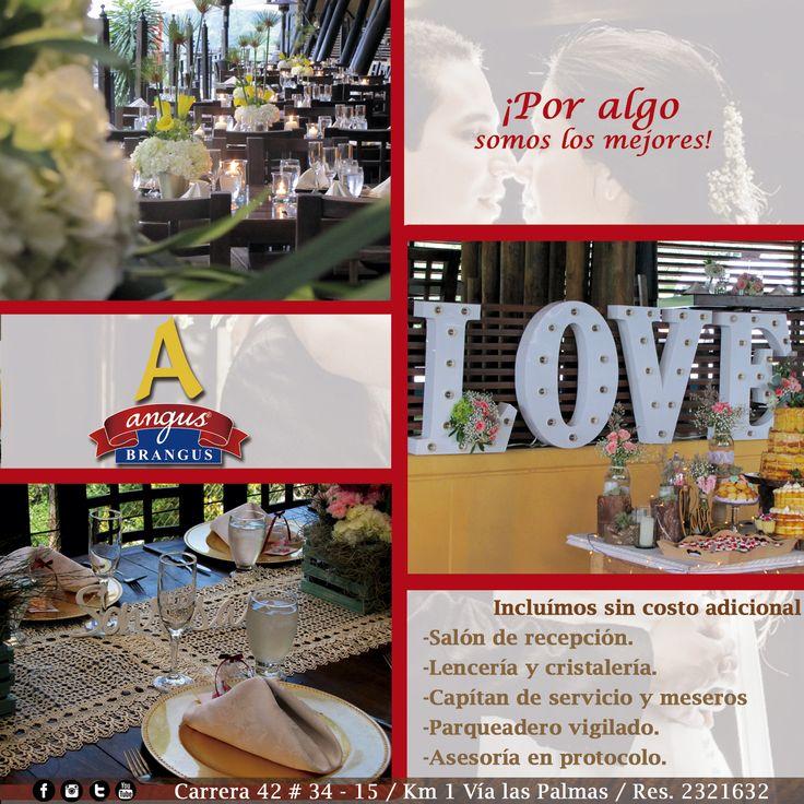 Tenemos fechas disponibles para celebrar en Angus Brangus Parrilla Bar   todos tus momentos especiales. ¡Solicita una cotización con nosotros!.   Reservas: 2321632.  www.angusbrangus.com.co  Cra. 42 # 34 - 15 / Vía las Palmas    #Banquetes #AngusBrangus #RestaurantesparaBodas #Novios Matrimonio.com.co   #Medellín #Poblado #PlanPerfecto #Colombia #Poblado #restaurantesrecomendados #bodas #laspalmas