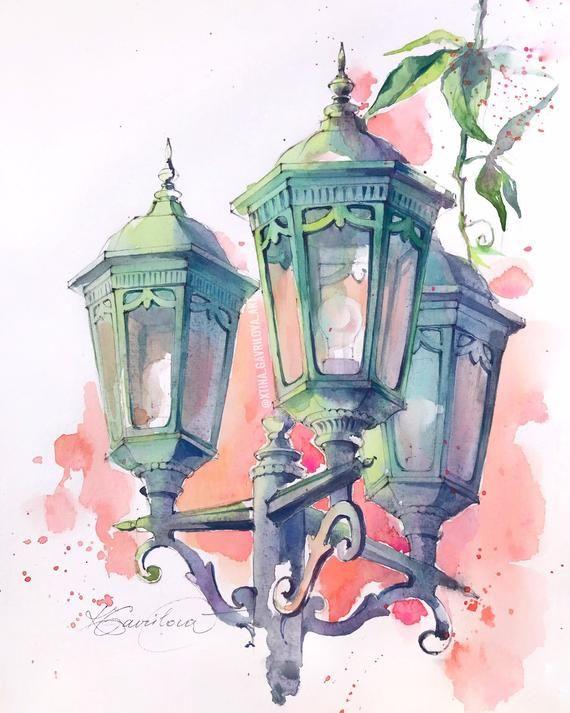Peinture Originale A L Aquarelle La Lanterne In 2020 Watercolor