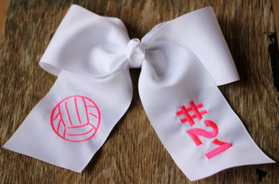 Embroidered Cheer Bow  Volleyball/Jersey Number by BubblegumDaisy