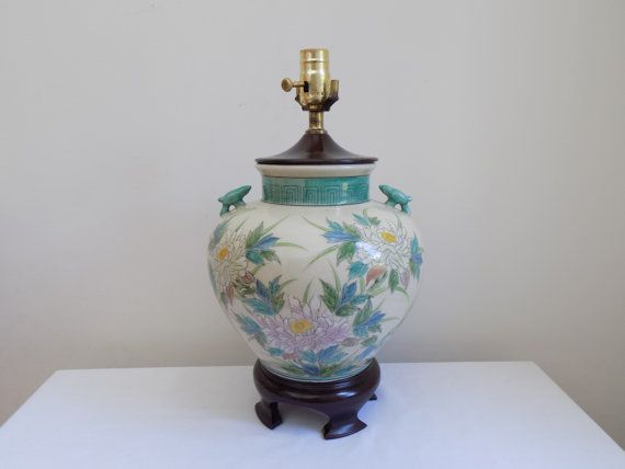 Vintage Hand Painted Porcelain Vase Urn Table Lamp