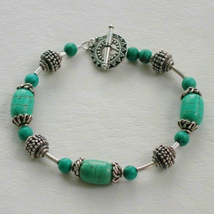 image of handmade gemstone bead jewelry turquoise and bali bead bracelet - Beaded Bracelet Design Ideas