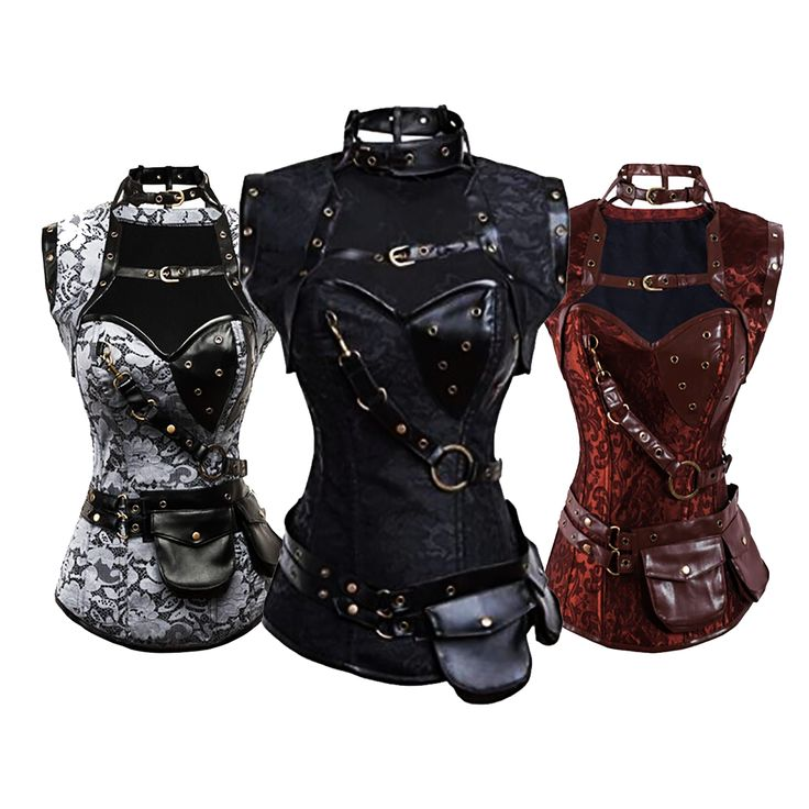 Steampunk Vintage Steel Boned Corset New-2015-Steampunk-Coset-Top-Retro-Gothic-Full-Steel-Boned-Brocade-Vintage-Steampunk-Bustier-Corsets-Brown-High-Neck-Corselet