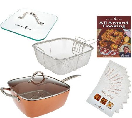 """Copper Chef XL 11"""" Square Pan with 4-piece Cooking System & Recipes"""