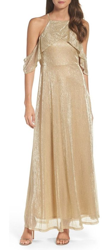 cold shoulder gown by Lulus. Go ahead, let down your hair and light up the evening in this softly luminous gown that's draped with sheer fabric do...