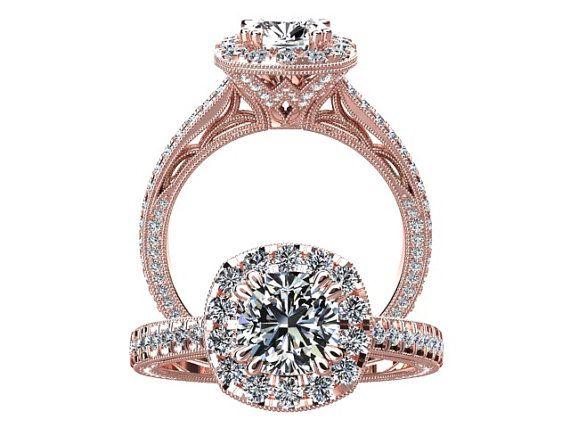 Victorian inspired 14k Rose gold Engagement Ring Diamond Ring 1.00 ct VVS MOISSANITE SW6MOIS14R on Etsy, $2,260.00