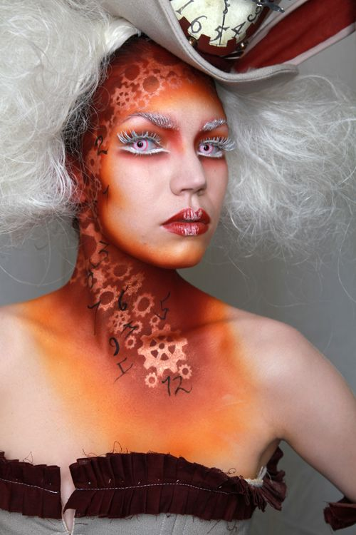 extreme fantasy makeup. gears and numbers steampunk WOW!