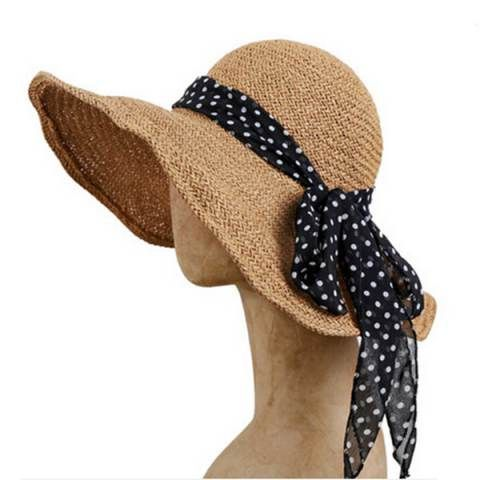 Cheap bow straw sun hat for women beach wear