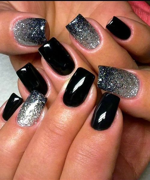 Amazing Black And Silver Nails