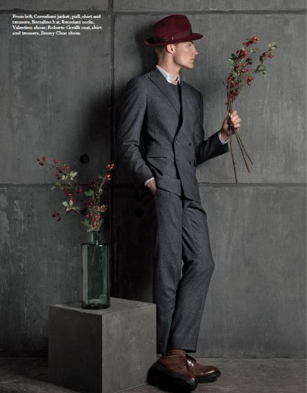 From our editorial: NATURAL MAN. Corneliani jacket, pull, shirt and trousers, Borsalino hat, Bresciani socks, Valentino shoes. Photo: Matteo Felici, Fashion: Sabrina Mellace. @corneliani #jacket #pull #shirt #trousers @borsalinoworld #hat #bresciani #socks @valentino #shoes #man #male #bookmoda #fashion #style #look #manfashion #man-fashion