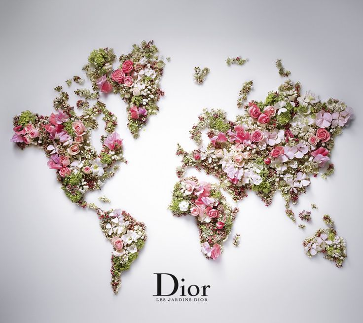 World Map by DIOR. From a beautiful press-release about Les Jardins de Dior, received Apr 14.
