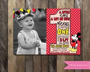 PRINTABLE First Birthday Mickey Mouse Invitation Minnie Mouse Invitation with Picture - 1st Birthday Invitation - Boys Girls Birthday Party