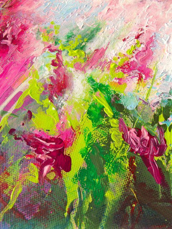 Floral Original pintura abstracta en lona por lanasfineart en Etsy
