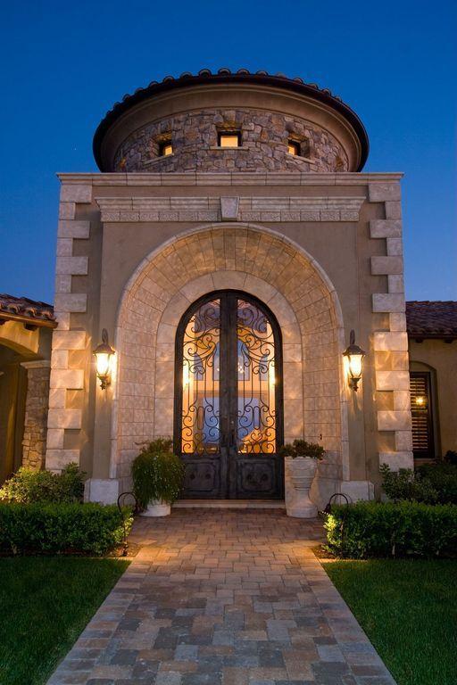 Mediterranean Front Door with exterior tile floors, Glass panel door